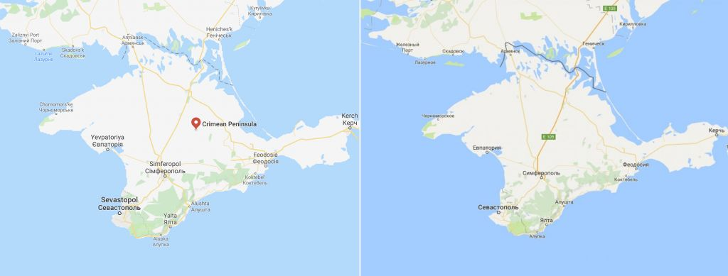 Disputed border of the Crimean peninsula, displayed differently on Google Maps outside of Russia (left) and within Russia (right). Source: Google Maps.