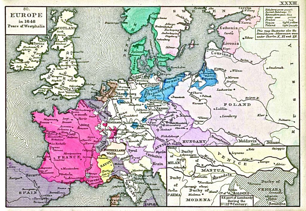 Europe after the Peace of Westphalia, 1648, when the sovereignty of nation-states was first established and was explicitly connected to their borders as lines on the surface of the Earth. Image: Robert H. Labberton, 1884.